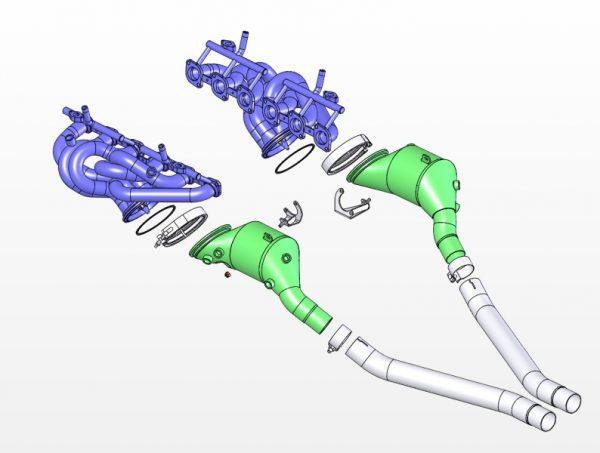Sistema di scarico con collettori 6-1 catalizzato